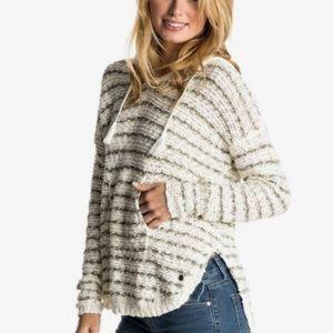 Roxy smoke signal stripe hooded poncho sweater